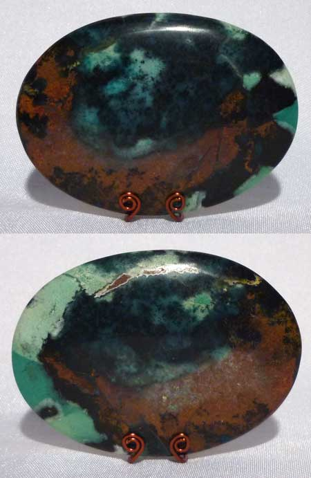 Chrysocolla cabochon from Bacan Island