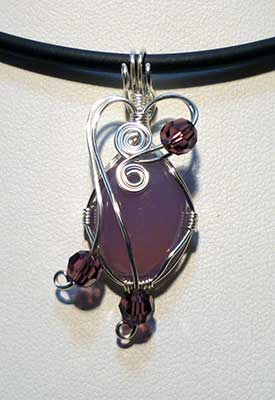 Purple Calchedony in wire wrap for pendant