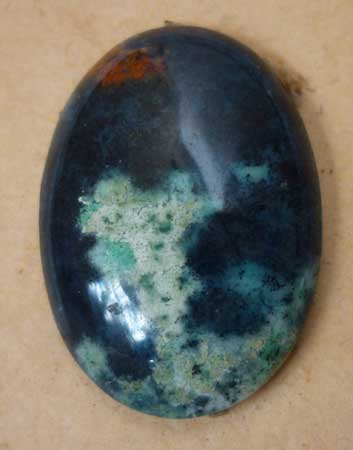 Highly polished Chrysocolla cab from Indonesia