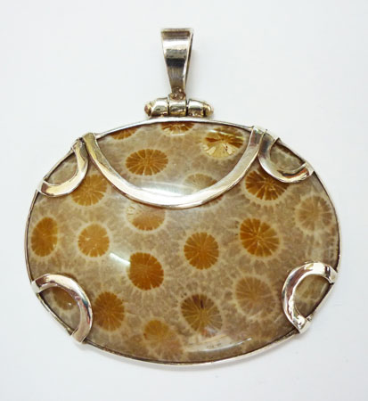 Fossil Coral Silver Pendant from Bali - Indonesia